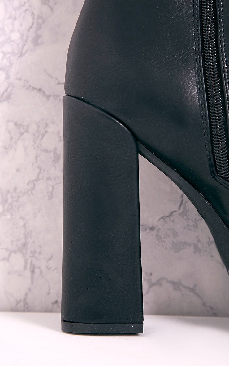 Ciel Black PU Cleated Sole Heeled Ankle Boots 5