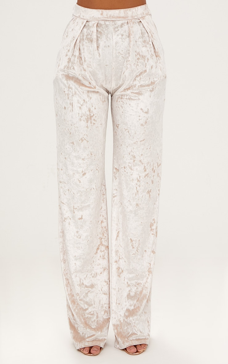 Champagne Crushed Velvet Wide Leg Suit Trousers 2