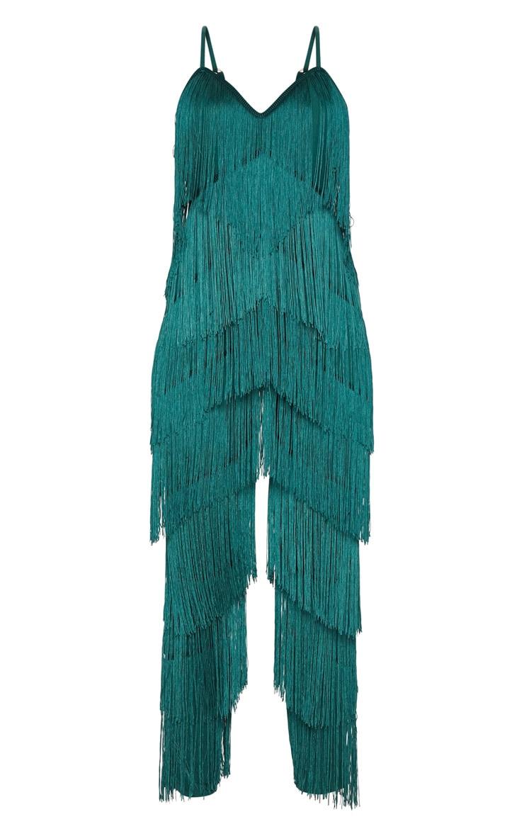 Emerald Green Tassel Plunge Jumpsuit 3