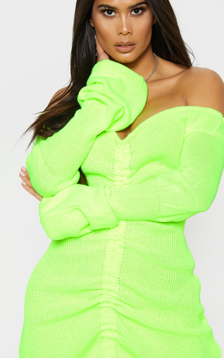 Neon Yellow Ruched Knitted Dress 5