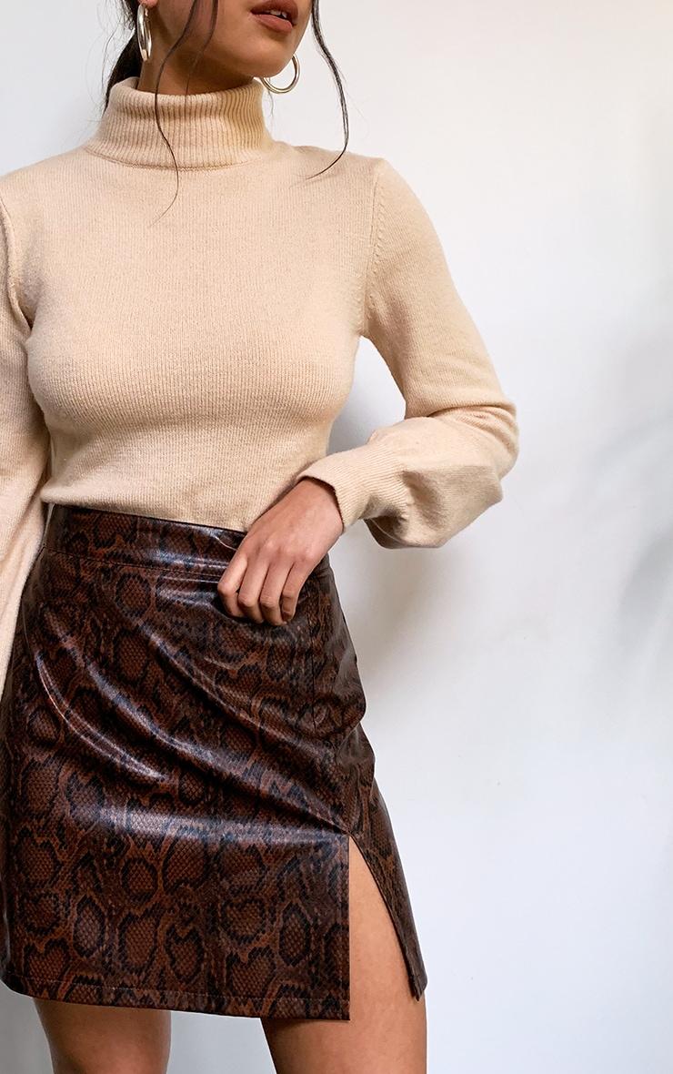 Brown Snake Faux Leather Split Front Mini Skirt 5