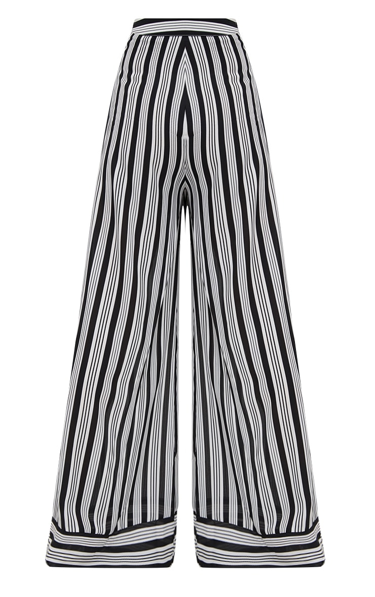 Black Contrast Stripe Mix Wide Leg Pants 3