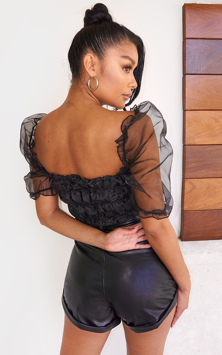 Black Organza Shirred Short Puff Sleeve Crop Top 2
