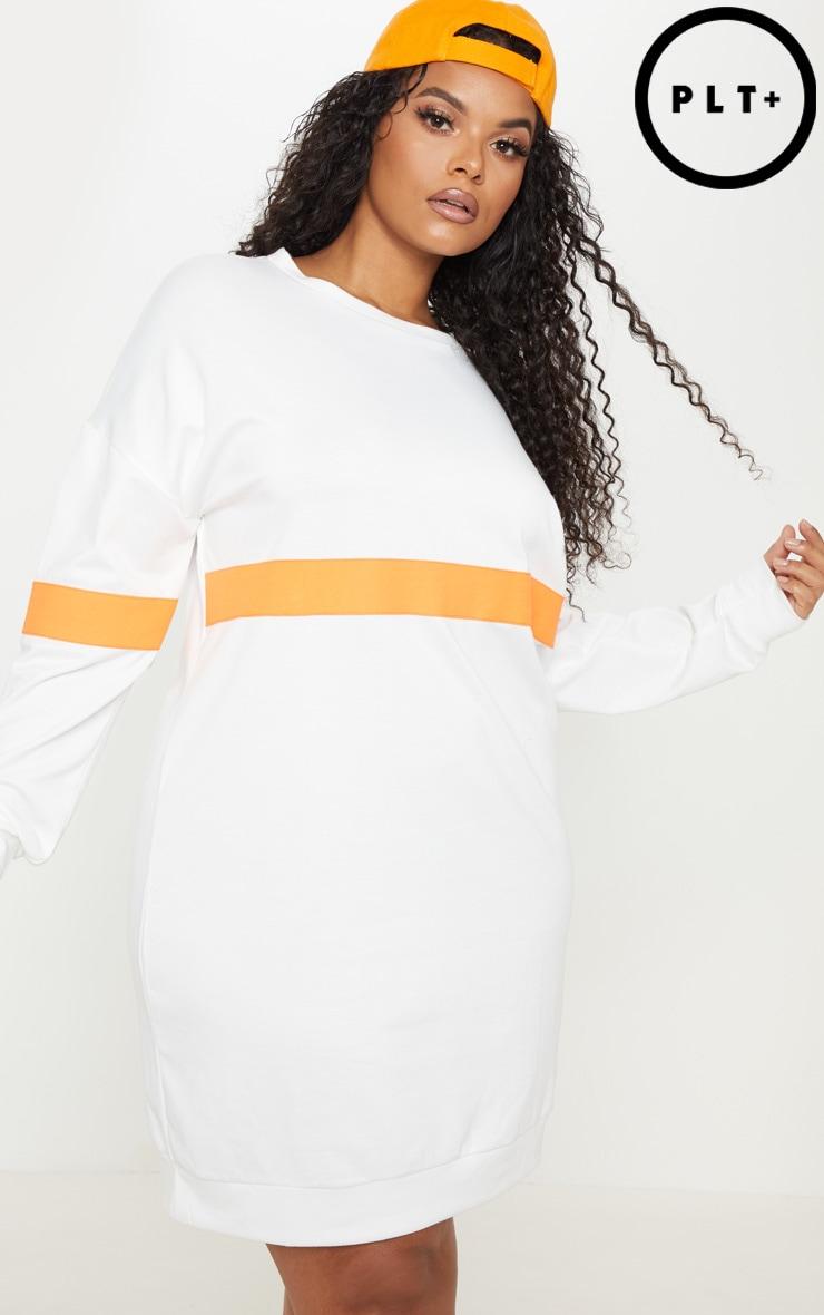 Plus White Neon Stripe Sweat Dress 1