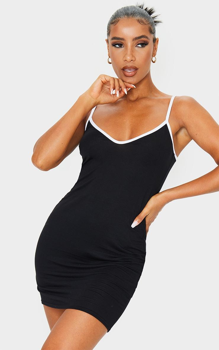 Black V Neck Binding Contrast Strappy Bodycon Dress 1