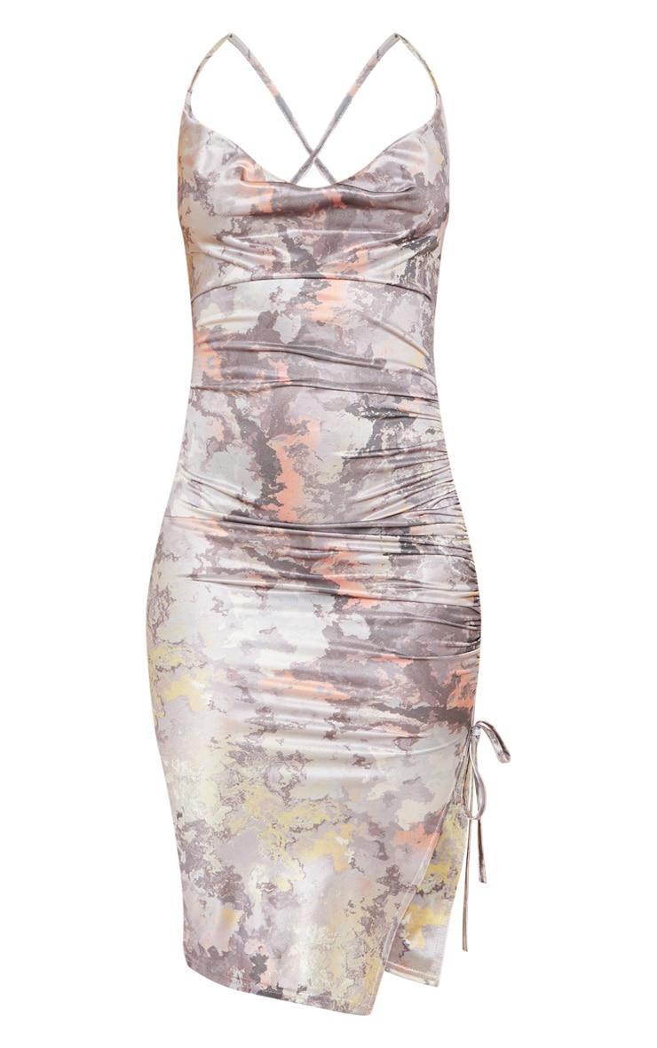 Multi Disco Slinky Marble Print Ruched Midi Dress 3