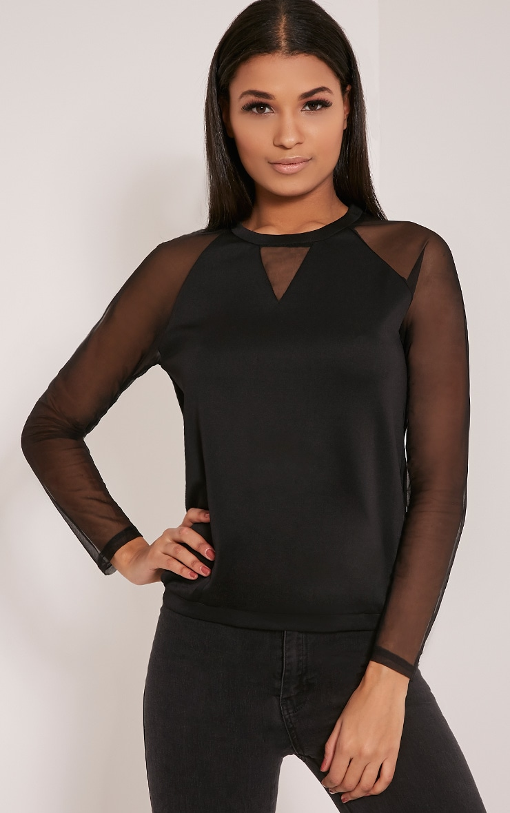 Nicola Black Mesh Panel Sweatshirt 1