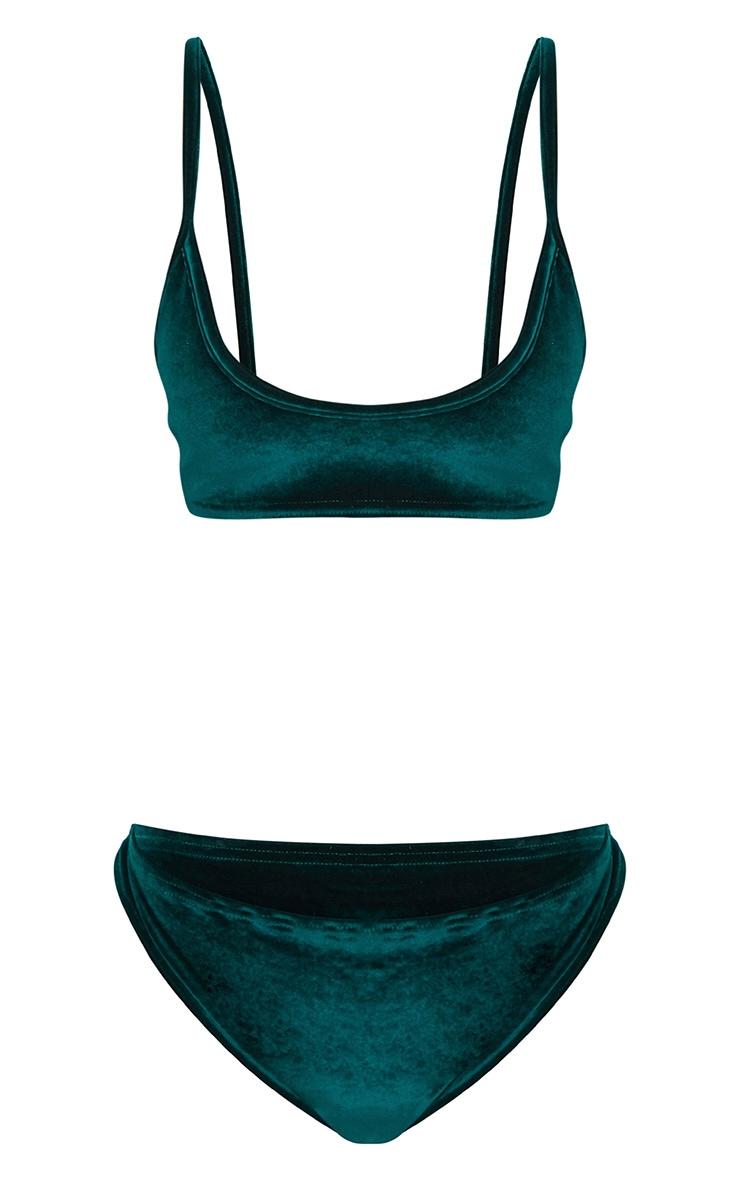 Emerald Green Velvet Bra & Knicker Set 3