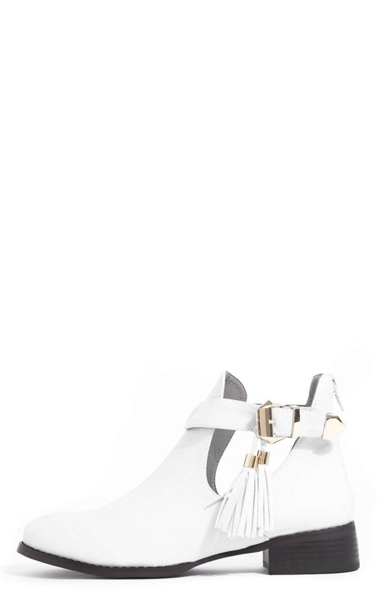 Chiara White Cut Out Ankle Boots 1