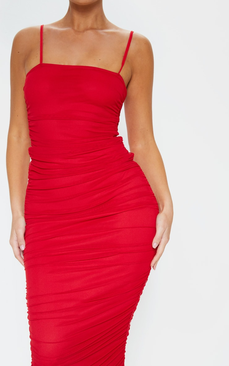 Red Strappy Mesh Ruched Midaxi Dress 5