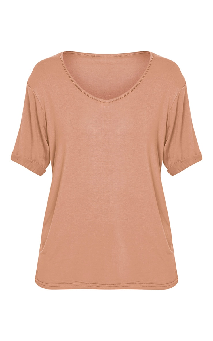 Basic Camel V Neck Oversized T-Shirt 3