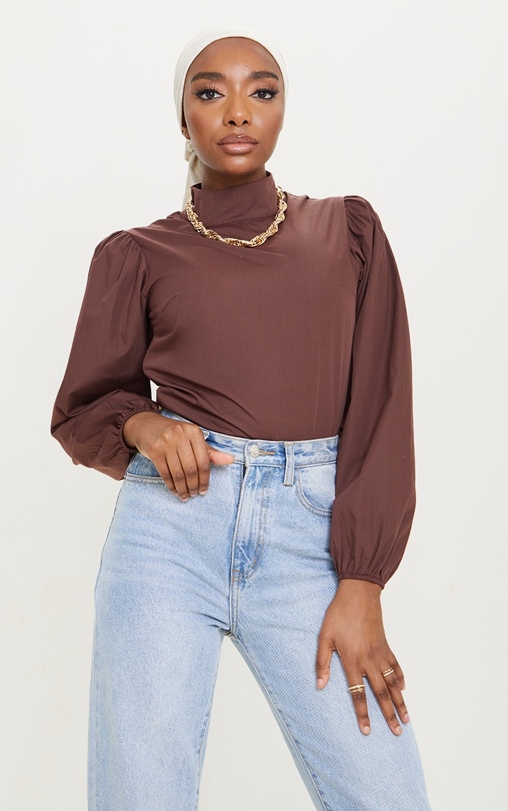 Chocolate Woven High Neck Puff Sleeve Elasticated Blouse