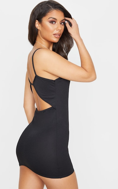 Black Low Back Strappy Bodycon Dress