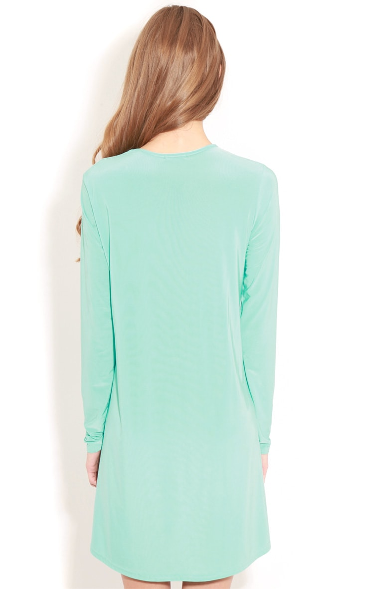 Ellen Turquoise Long Sleeved Swing Dress  2