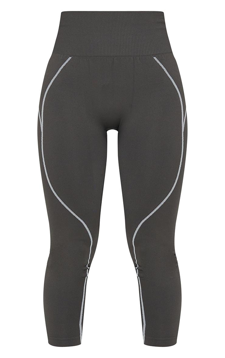 Grey Seamless Detailed Sports Legging 5
