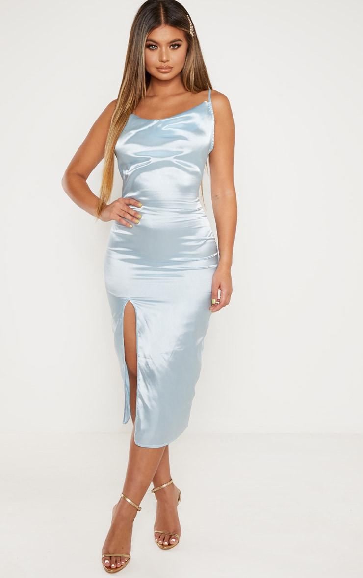 Baby Blue Strappy Satin Cowl Midi Dress 1