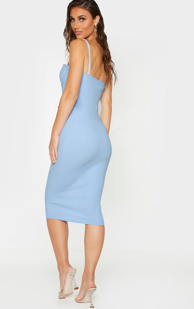Baby Blue Strappy Cup Detail Midi Dress 2