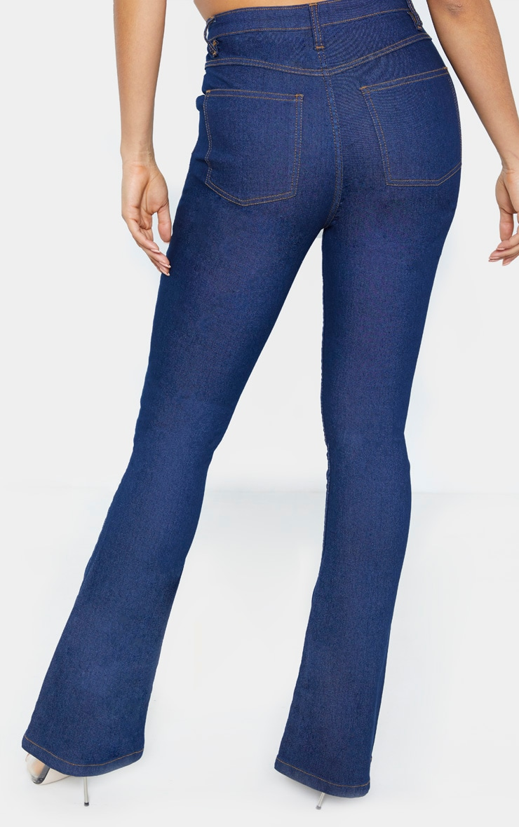 Tall Dark Wash Stretch Denim Flare Jeans 4
