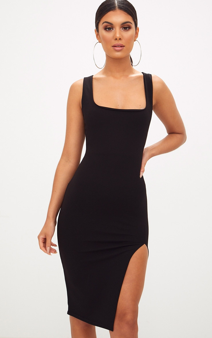 Black Tie Back Scoop Neck Midi Dress 1