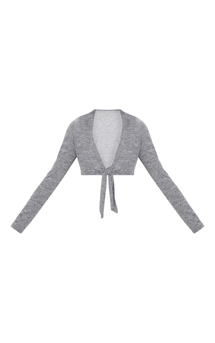 Grey Tie Front Knitted Top 3