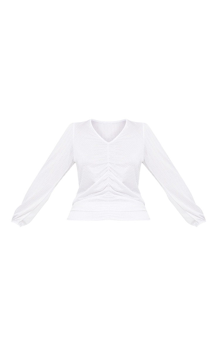 Plus White Textured Plunge Top 3