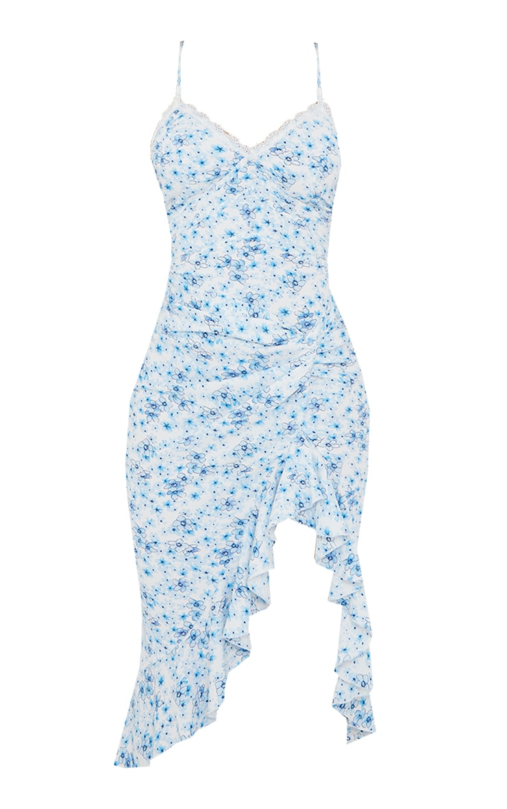 Blue Floral Print Lace Up Back Twist Detail Midi Dress 5