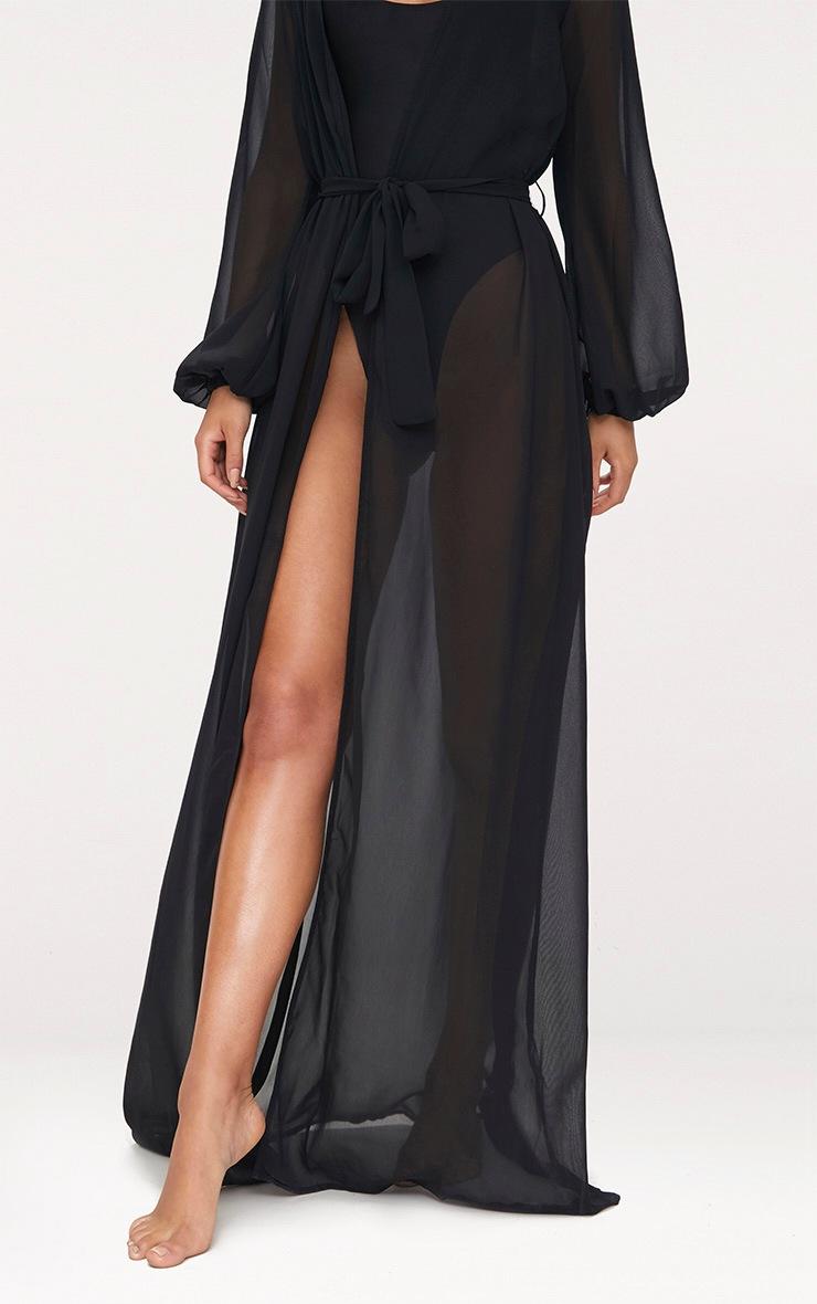 Alice Black Maxi Belted Beach Kimono 4