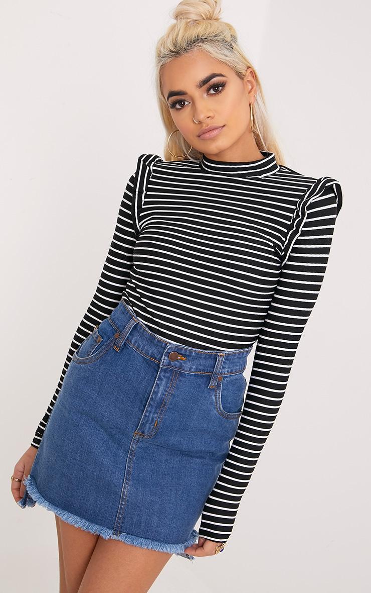 Zooey Black Stripe Frill Long Sleeve Top 1