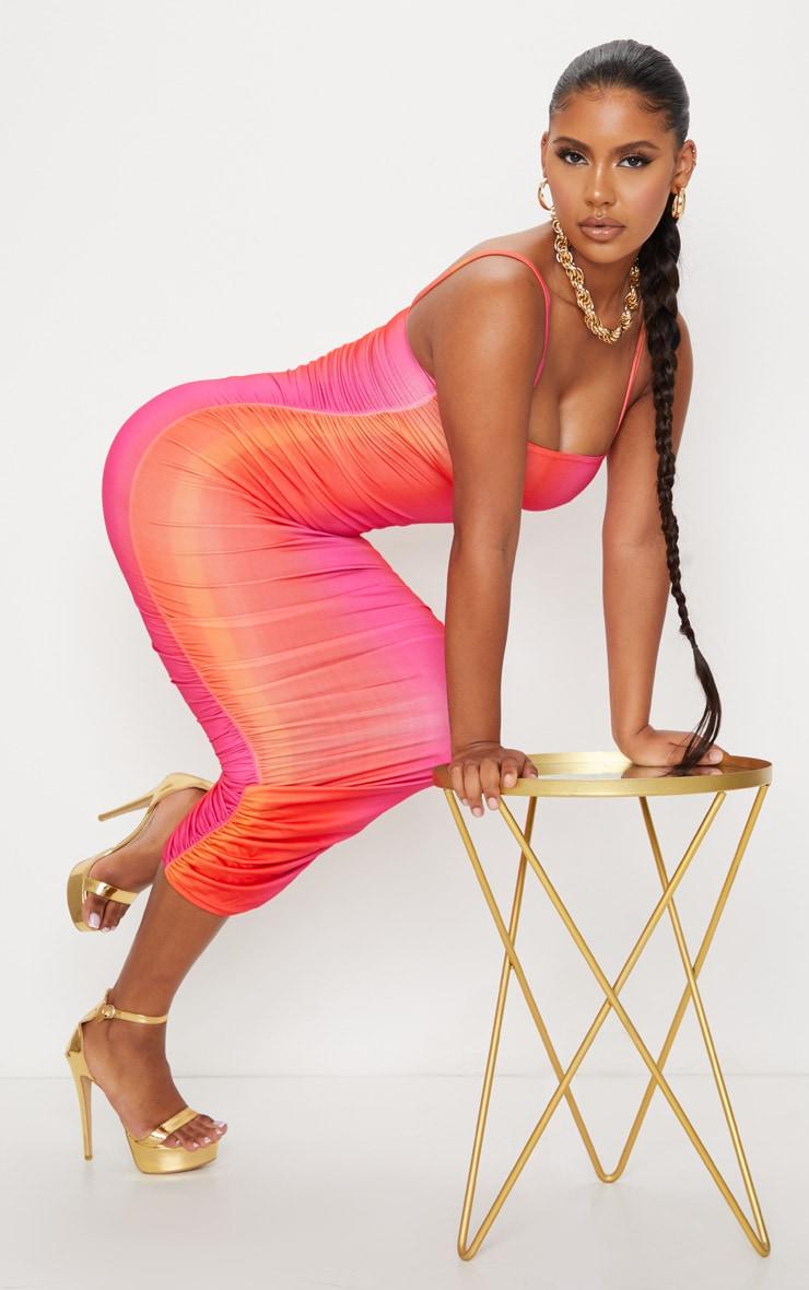 Orange Ombre Tie Dye Print Slinky Strappy Ruched Midaxi Dress 3