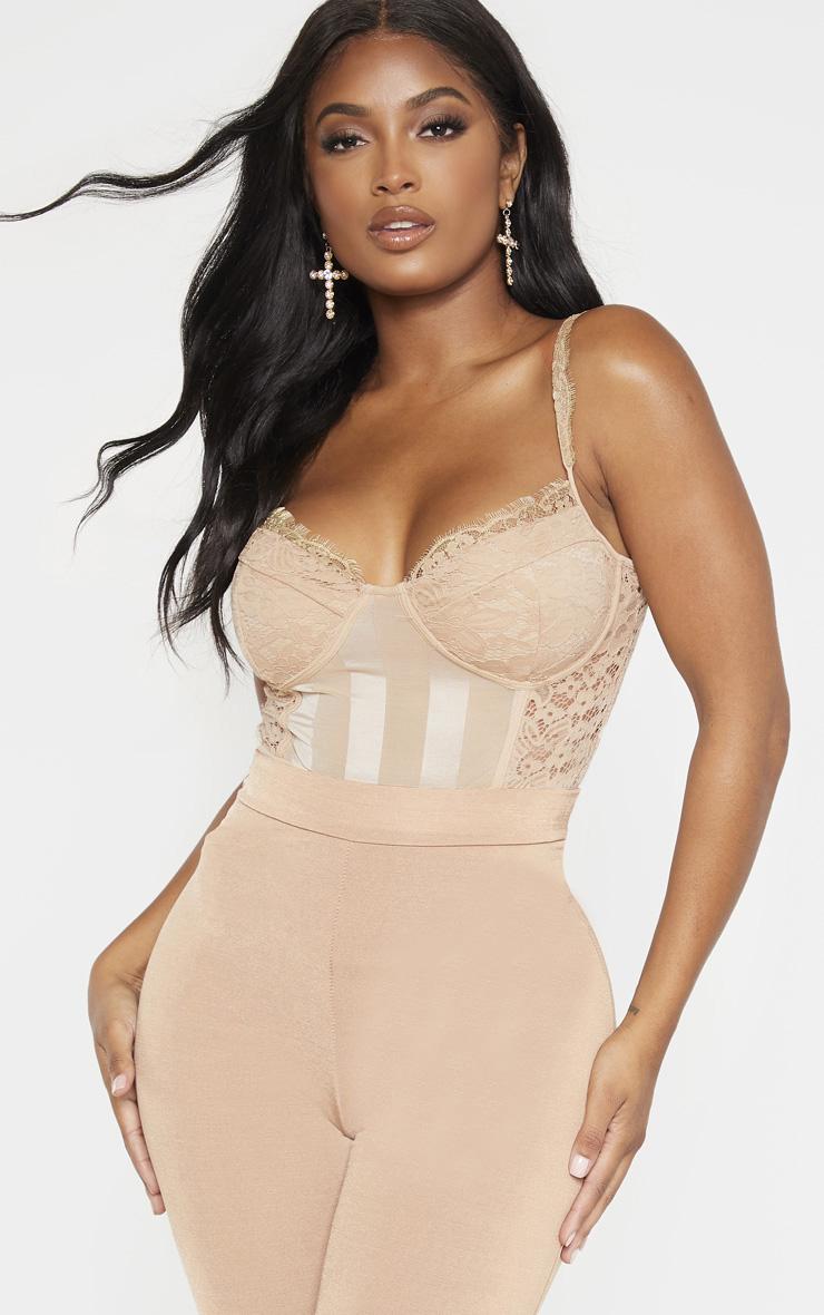 Shape Champagne Lace Mesh Stripe Bodysuit 1