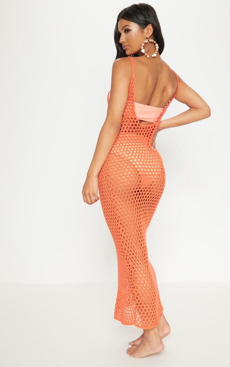 Orange Crochet Open Knit Midi Dress 2