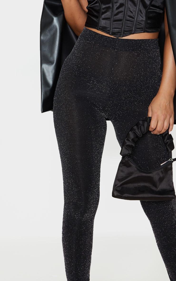 Petite Black Textured Glitter Legging 5