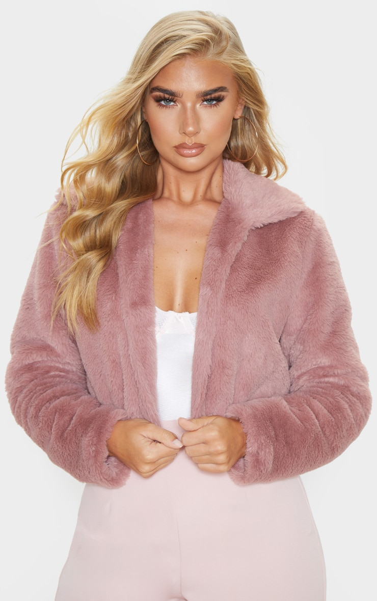 Rose Cropped Faux Fur Coat 1