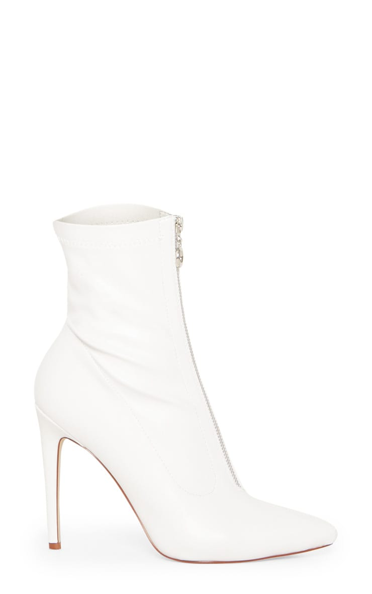 White Faux Leather Zip Front Sock Boot 3