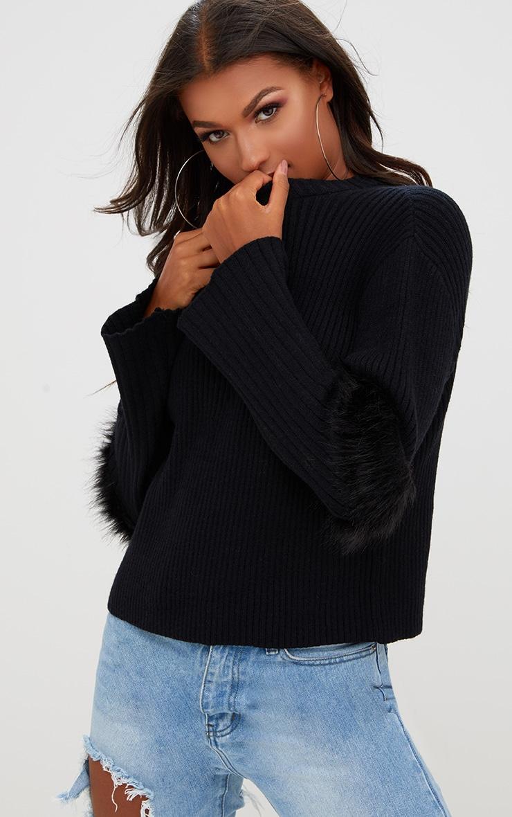 658d7c5bd8 Black Faux Fur Sleeve Detail Sweater. Knitwear