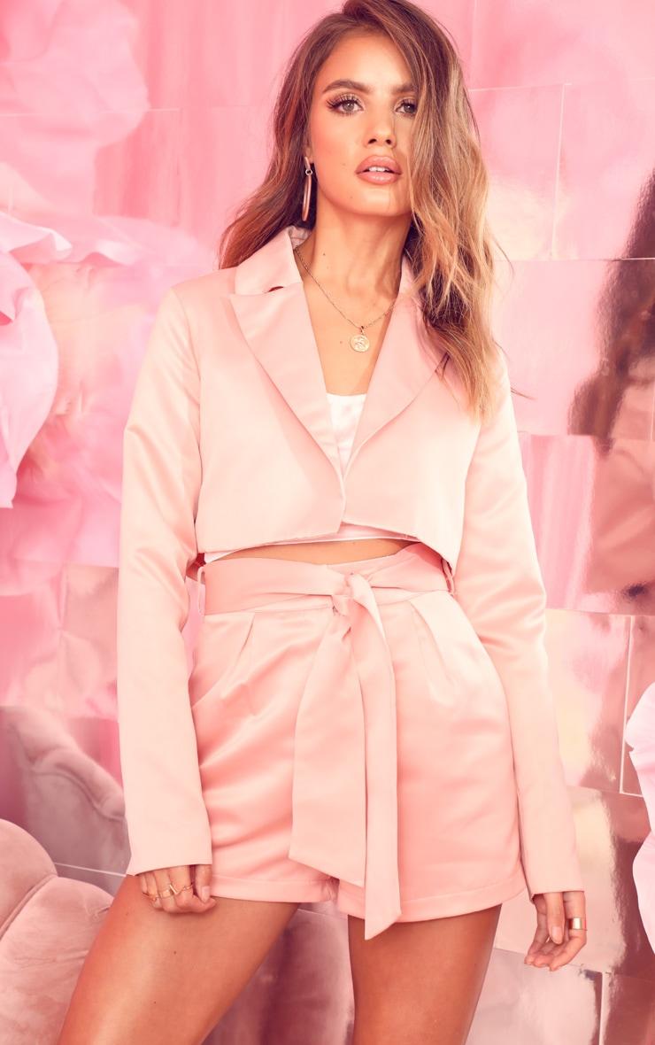 Pale Pink Crop Satin Woven Blazer 1