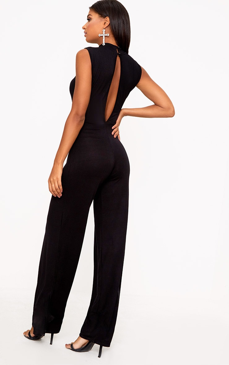 Black Knot Front Wide Leg Jumpsuit  2