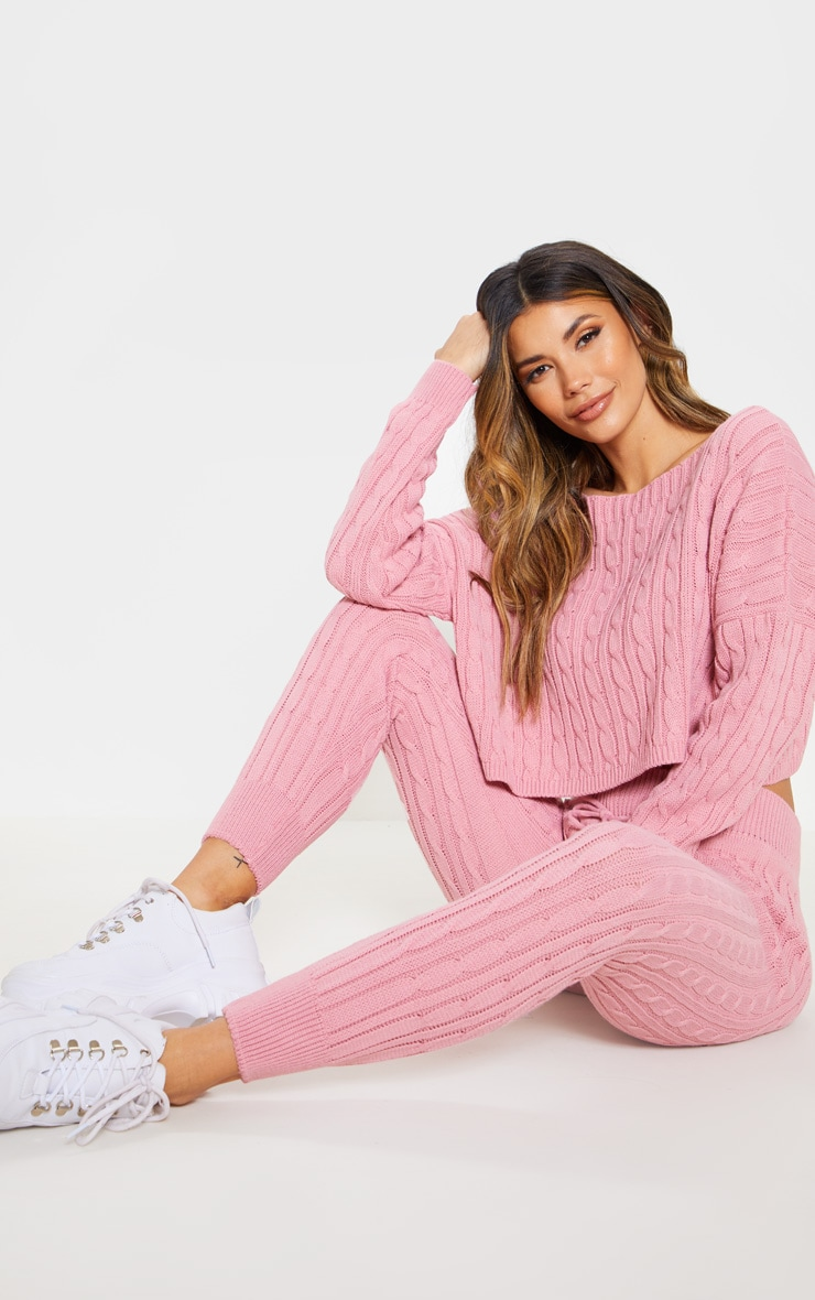 Dusty Pink Cable Knit Jumper & Legging Set 1