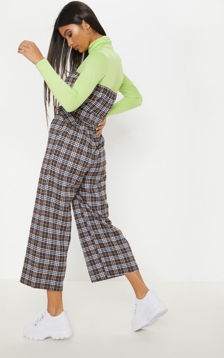 Chocolate Checked Belted Culotte Jumpsuit 2