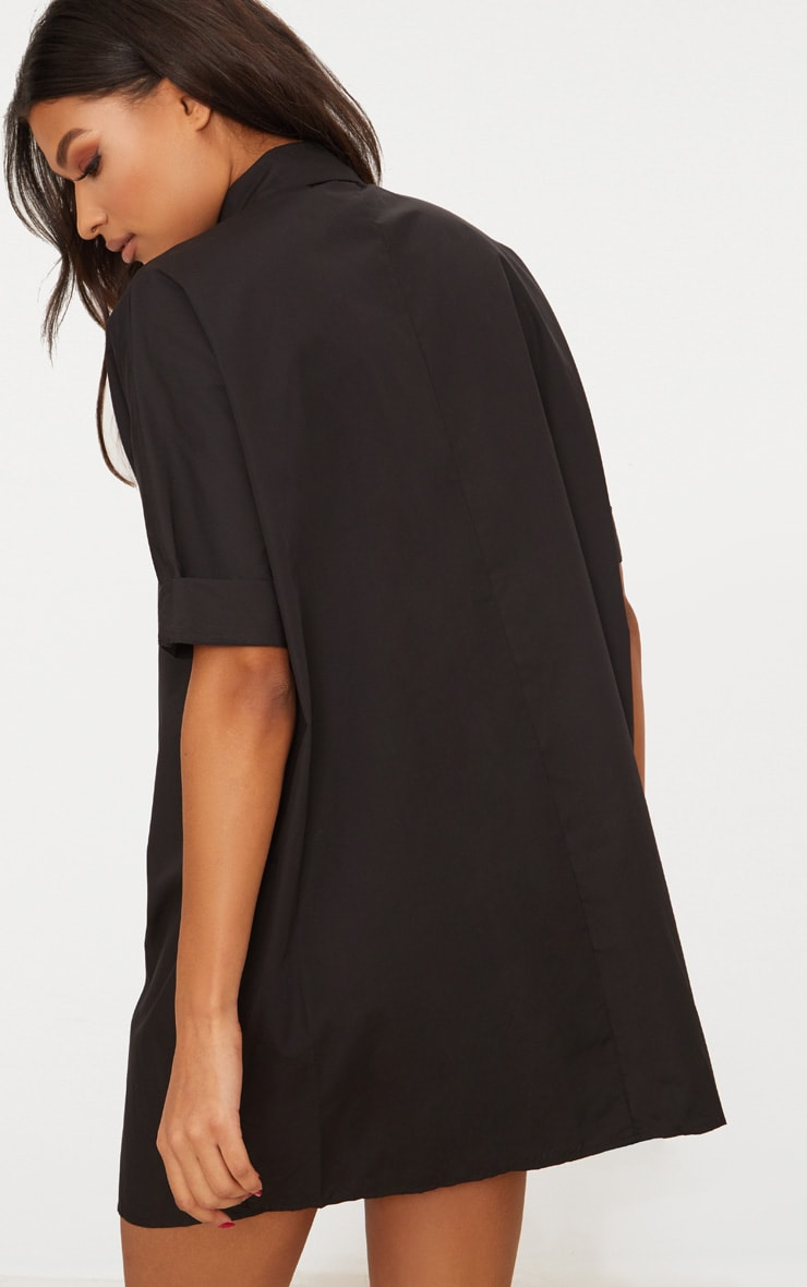 Black Oversized Short Sleeve Shirt Dress 2