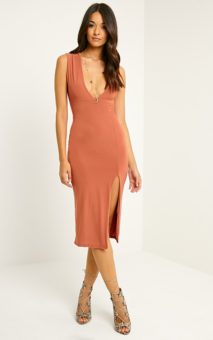 Christa Rust Sleeveless Plunge Split Front Midi Dress 3