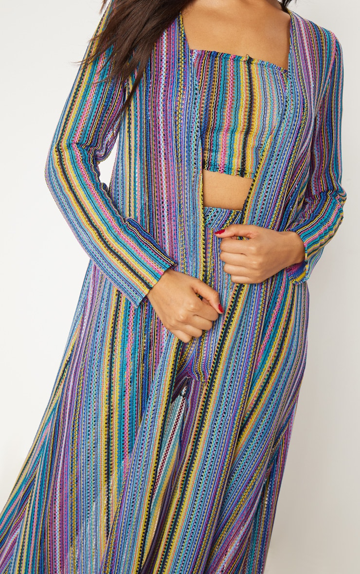 Multi Crochet Stripe Maxi Cardigan  6