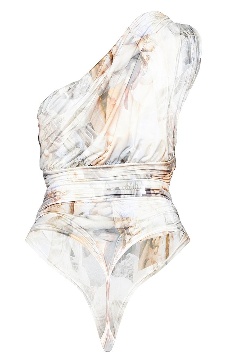 White Abstract Renaissance Print Slinky Draped One Shoulder Bodysuit 6