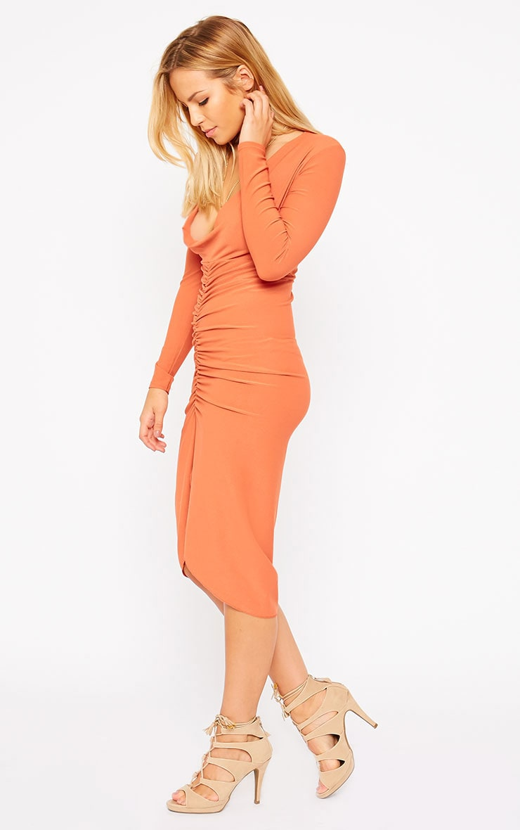 Zoey Rust Ruched Midi Dress 4