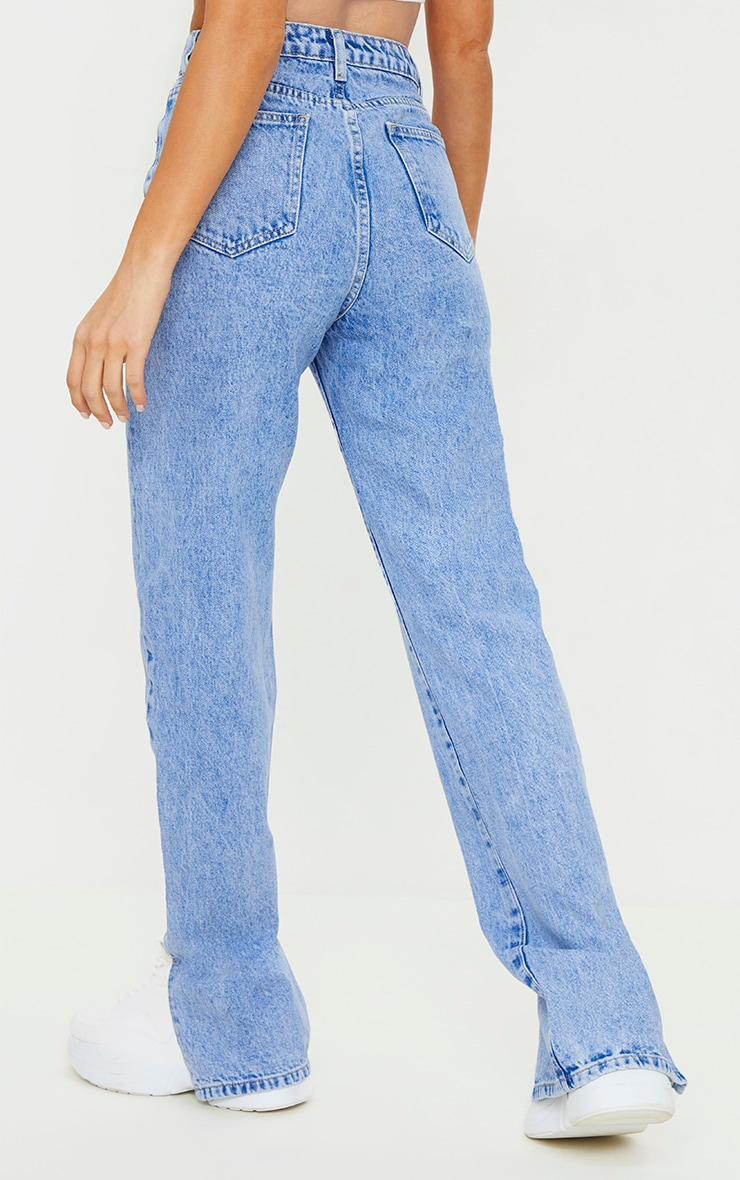 Bright Blue Split Hem Jeans 3