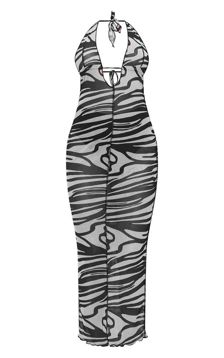 Black Zebra Print Sheer Mesh Halterneck Tie Back Maxi Dress 5
