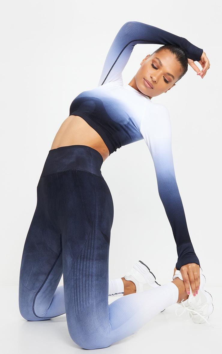 Legging de sport sans coutures bleu marine dégradé à taille haute 1