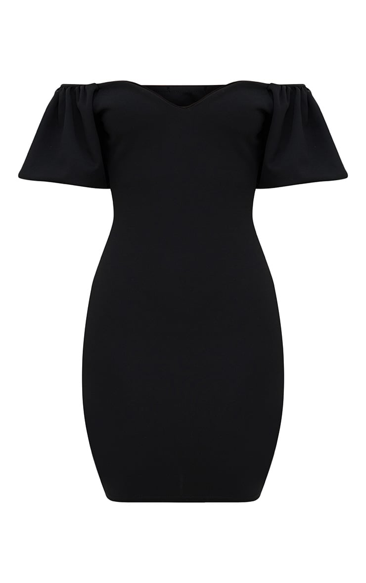 Black Puff Shoulder Bardot Bodycon Dress 3