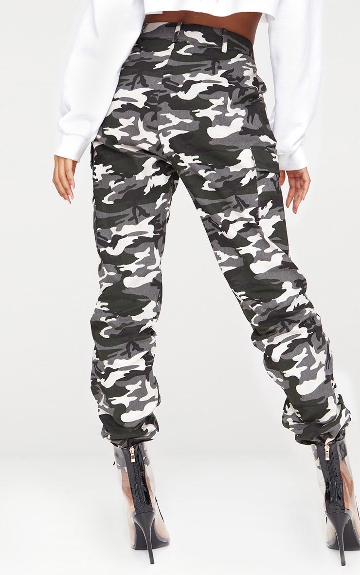 Grey Camo Print Cargo Pants 5