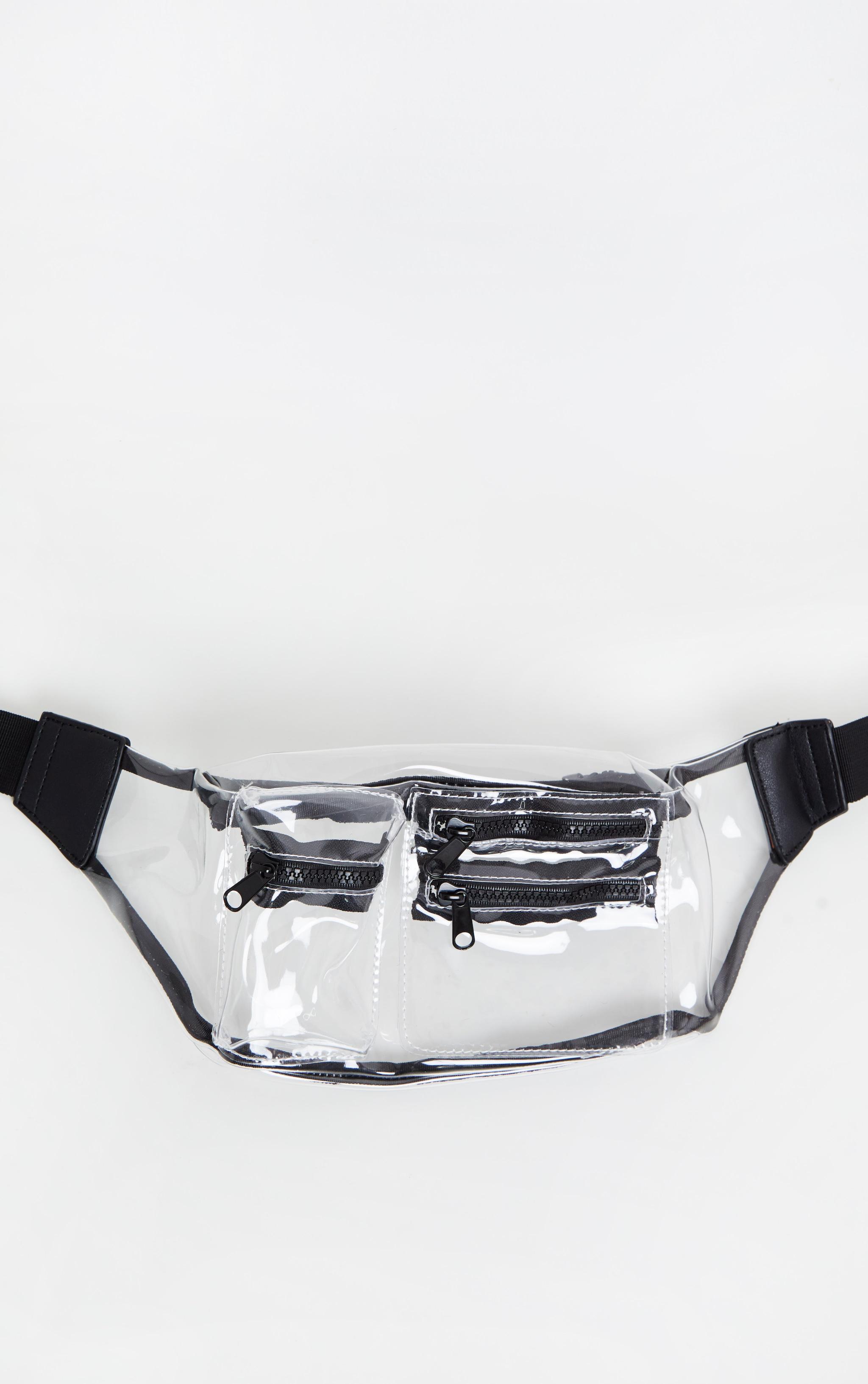 Clear Transparent Multi Zip Bum Bag 3